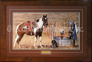 "(RMP-ST008) ""Cowgirl in Heaven"" Framed & Matted Western Print"