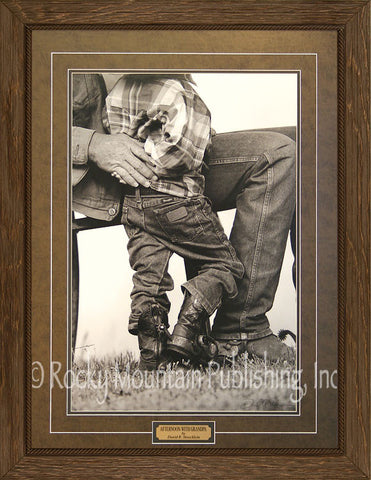 "(RMP-ST044) ""Afternoon with Grandpa"" Framed & Matted Western Print"