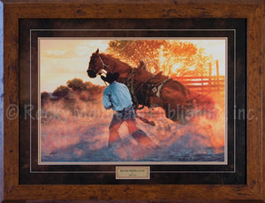 "(RMP-TC103) ""When Horse Whispering Gets Loud"" Western Framed Print by Tim Cox"