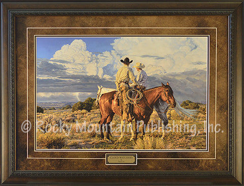 "(RMP-TC115) ""Cloud Watchers"" Western Framed & Matted Print by Tim Cox"
