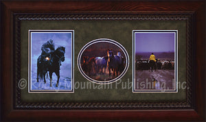 "(RMP-TRP-ST04) ""The Morning Pasture"" Framed & Matted Western Triplet"