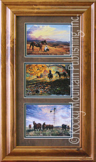 "(RMP-TRPTC10) ""End of the Day"" Western Triple Print by Tim Cox"