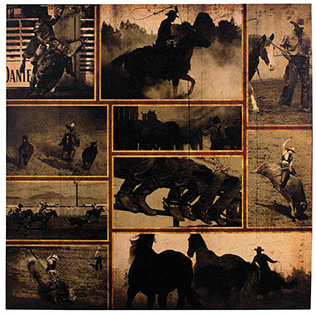 Lighted Rodeo Montage Canvas Art