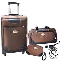 (RWBA1254C) Western 3-Piece Brown Luggage Set with Longhorn Conchos