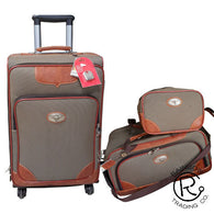 (RWBA1254B) Western 3-Piece Light Brown Luggage Set with Longhorn Conchos