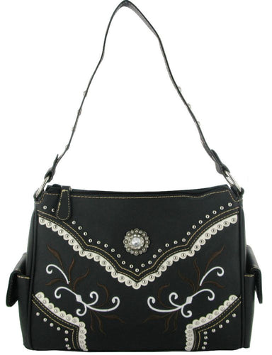 (RWBA2012B) Western Black Faux Leather Purse