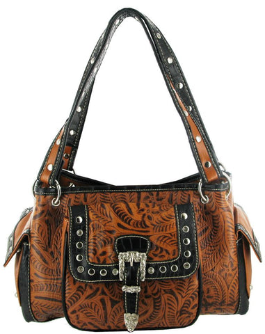 (RWBA2953C) Western Faux Leather Buckle Tooled Saddle Purse