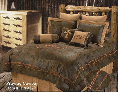 "(RWBA9177SK) ""Praying Cowboy"" 5-Pc. Comforter Set King"