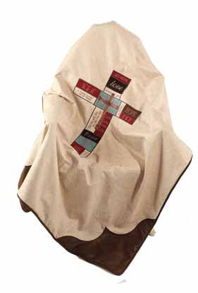 "(RWBA9088TH) ""Faith Cross"" Western Throw Blanket"