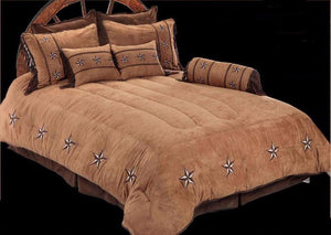 "(RWBA9091-SK) ""Patched Two-Tone Star"" Western Bedding Set - Super King"