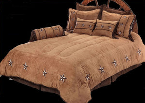 "(RWBA9091-SQ) ""Patched Two-Tone Star"" Western Bedding Set - Super Queen"