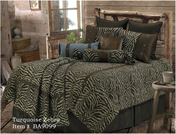 "(RWBA9099-SQ) ""Turquoise Zebra"" Western 5-Piece Bedding Set - Super Queen"