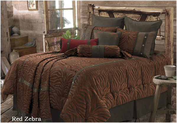 "(RWBA9107-SF) ""Red Zebra"" Western 5-Piece Bedding Set - Super Full"