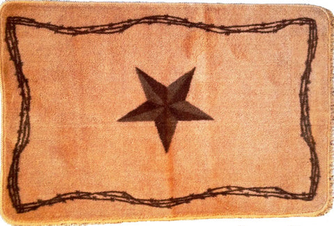 (RWBA9134-B1) Western Star & Barbwire Bath/Kitchen Rug