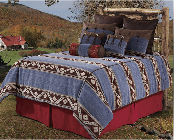 "(RWBA9185-SK) ""Blue Jeans"" Western 7-Piece Bedding Set - Super King"