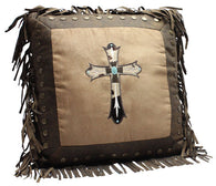 (RWBA9186P2) Western Cowhide Cross Accent Pillow with Turquoise Stone