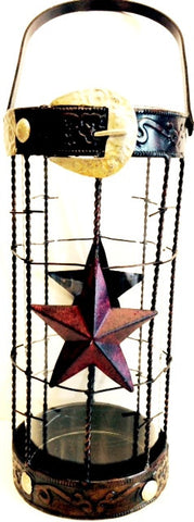 "(RWMA7047) Western Metal & Glass Stars and Belt Candle Holder 20"" Tall"