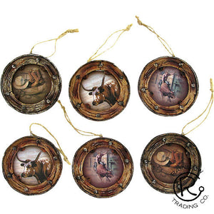 (RWPX1607) Western Wagon Wheel Ornaments - 6 Piece Set