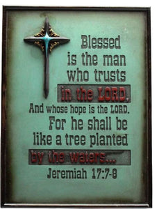 "(RWRA1206) ""Blessed is the Man Who Trusts in the Lord"" Western Sign"