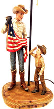 Load image into Gallery viewer, (RWRA1371) Western Cowboy & Son with US Flag Table Lamp