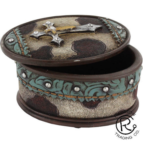 (RWRA3906) Western Cowhide & Cross Trinket Box