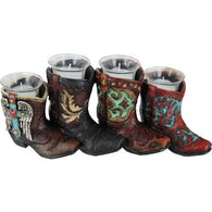 (RWRA3959) Western 4-Boots Candle Holders