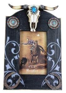 (RWRA4292) Western Photo Frame with Longhorn Skull, Horseshoes and Conchos