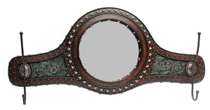 (RWRA4300) Western Turquoise Tooled Wall Mirror with Hooks