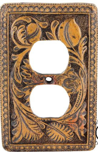 (RWRA4918) Western Tooled Flower Outlet Cover Plate