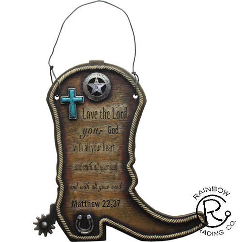 (RWRA6341) Western Boot Bible Verse Plaque