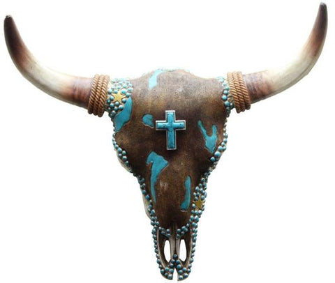 (RWRA6537) Western Faux Cowhide & Turquoise Cowskull with Cross