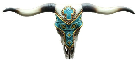 (RWRA6543) Western Steer Skull Wall Art with Turquoise Cross