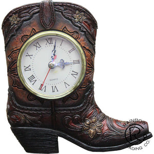 (RWRA6552) Western Cowboy Boot Desk Clock