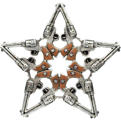 (RWRA6640) Western Pistol Star Wall Plaque