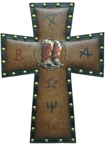 "(RWRA8538BT) Western ""Boots"" Padded Cross"