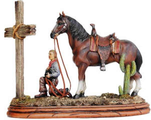 Western Praying Cowboy Amp Cross Sculpture Ra8812 Wild