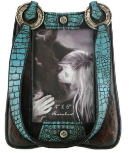 "(RWRA8863) Western Turquoise Leather Purse Look Photo Frame (4"" x 6"")"