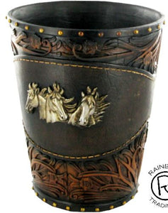 Triple Horse Head Faux Tooled Leather Waste Basket