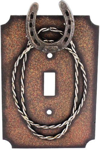 (RWRA9257) Western Horseshoe & Barbwire Single Switch Cover Plate