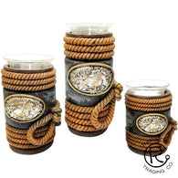 (RWRA9352) Western Rope & Horse 3-Piece Candle Holder Set