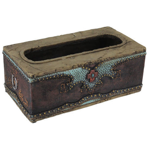 (RWRA9361) Western Turquoise & Cross Tissue Box Cover
