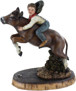 (RWRA9685) Cowboy Child Riding Cow Sculpture