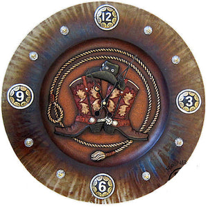 (RWRA9878) Western Double Cowboy Boot Metal Wall Clock