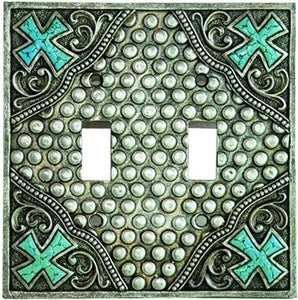 (MWRSM1666) Western Studs & Crosses Double Switch Plate