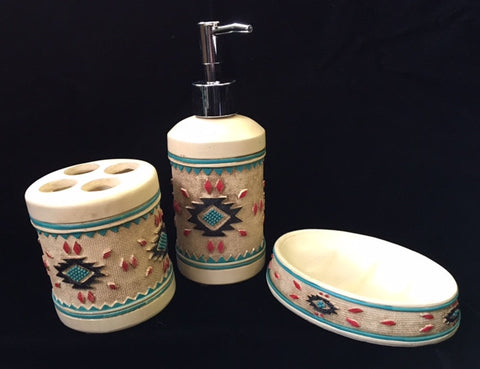 (MWRSM1837-8-9) Aztec Pattern 3-Piece Bath Set
