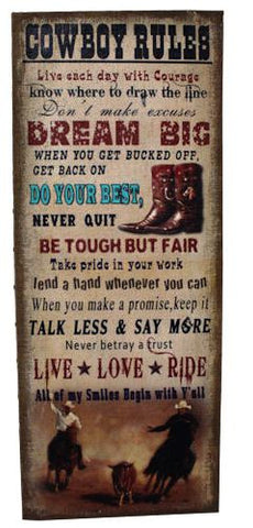 "(RWRT4997) ""Cowboy Rules"" Western Large Wall Plaque 39-1/2"" Tall"