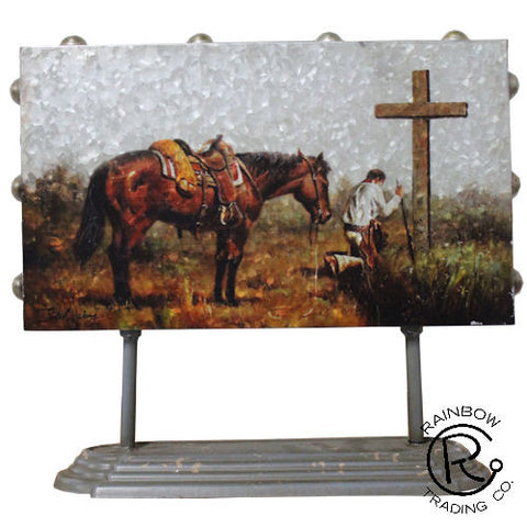 (RWRT5020) Western Metal Praying Cowboy with Stand