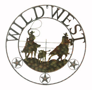 (RWRT5038) Wild West Team Roping Metal Wall Sign