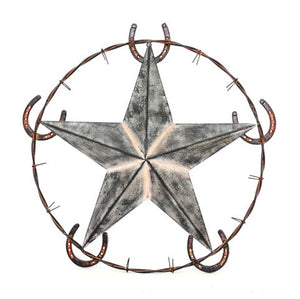 "(RWRT5048) Western Metal Art with Star and Horseshoes - 26"" Diameter"
