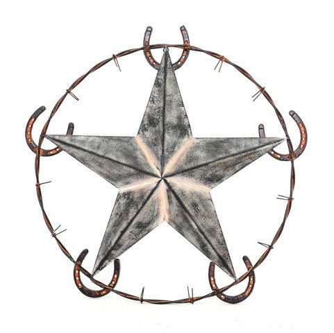 (RWRT5048) Western Metal Art with Star and Horseshoes - 26